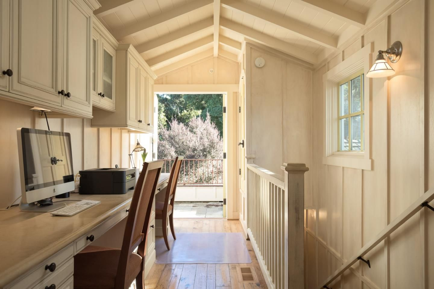 Classic Board and Batten Cottage in Carmel-by-the-Sea for sale- Hallway with dual desks
