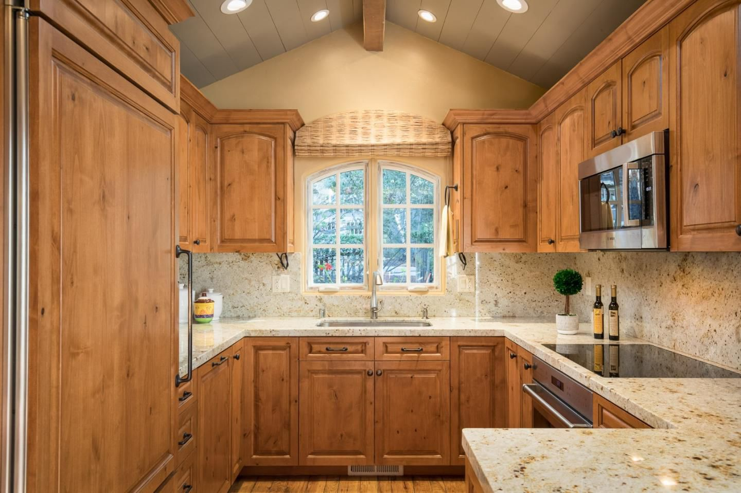 Classic Board and Batten Cottage in Carmel-by-the-Sea for sale -Kitchen with wood cabinets