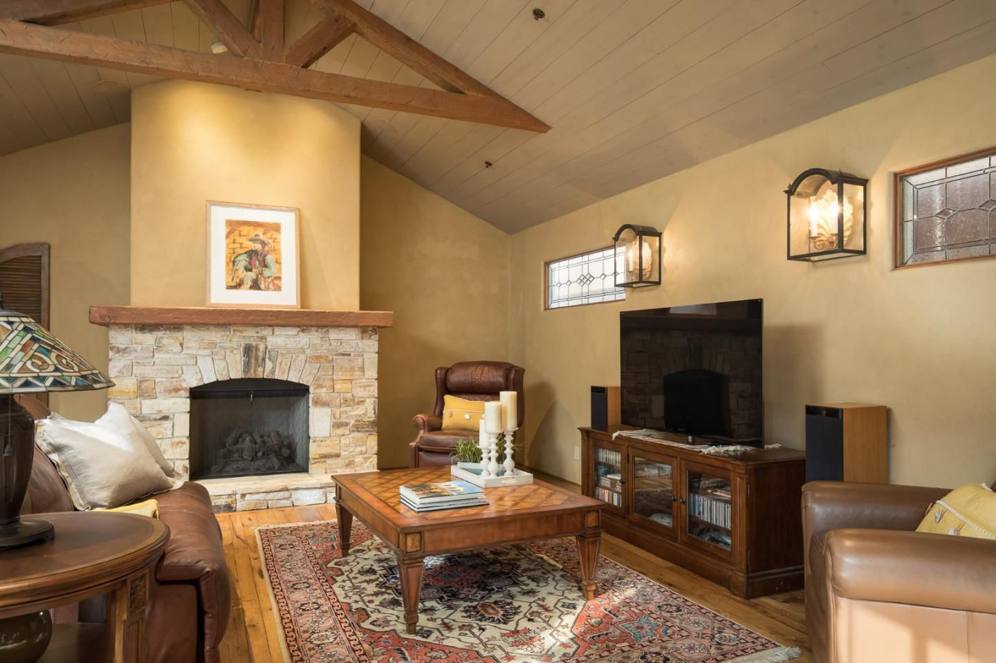 Classic Board and Batten Cottage in Carmel-by-the-Sea for sale -Living Room with fireplace
