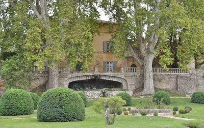 Close up of the terrace in front of Château la Canorgue from A Good Year movie via House of Provence