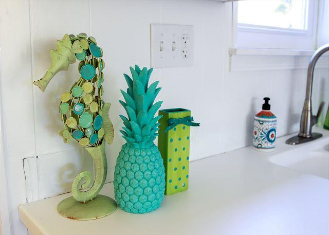 Coastal Joy Cottage Colorful Kitchen Details- Tybee Island Mermaid Cottages