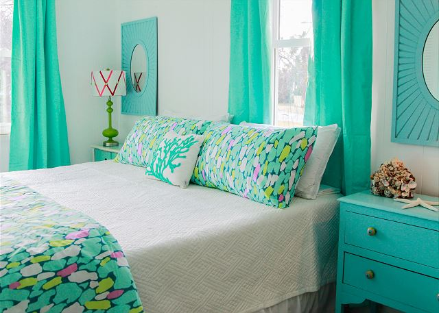 Coastal Joy Cottage Colorful Turquoise Bedroom