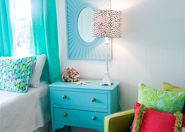 Coastal Joy Cottage Mermaid Cottages - Bedroom Details with Flamingo Lamp