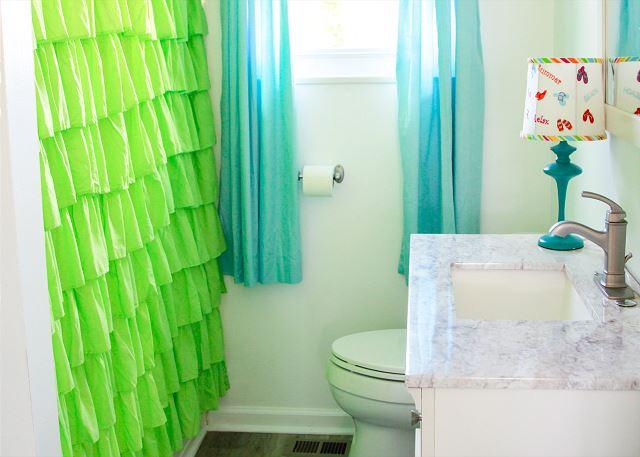 Colorful Coastal Joy Cottage Bathroom - Tybee Island Mermaid Cottages