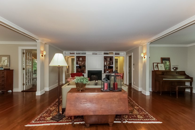Craftsman Colonial living room with FIREPLACE