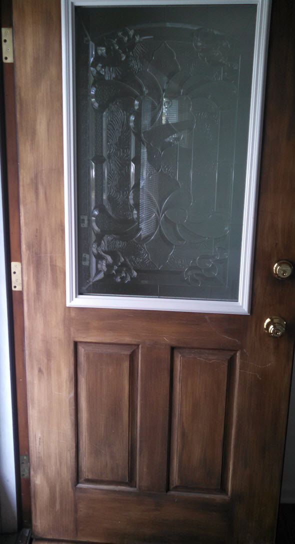 Cut out and insert decorative glass window into plain fiberglass door - Housekaboodle