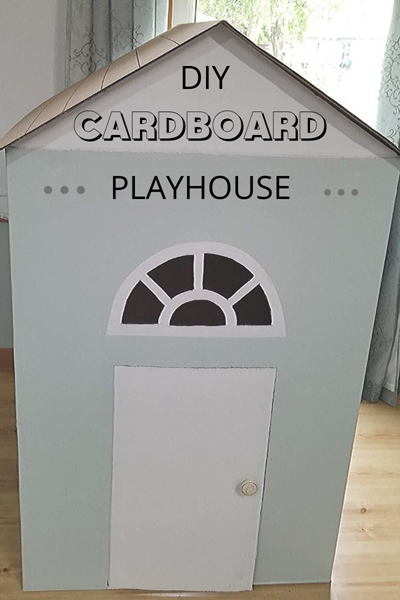 Fun DIY Cardboard Playhouse made out of washer and dryer boxes makes for a lot of fun for the kids.