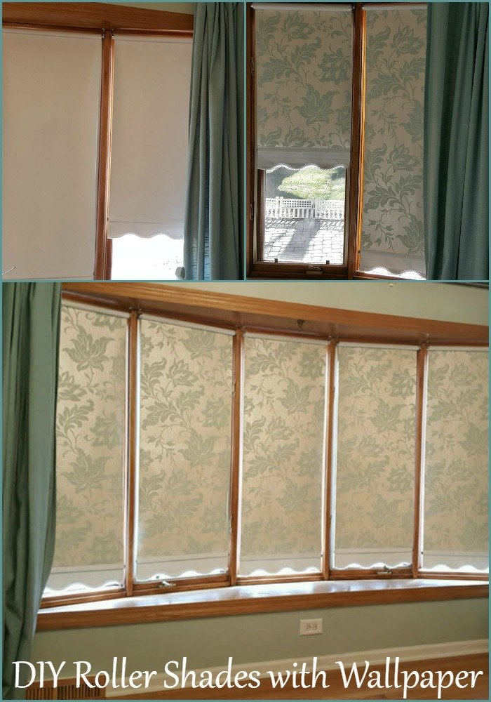 DIY Roller Shades with Wallpaper - Housekaboodle. Transform plain roller shades into custom shades with wallpaper