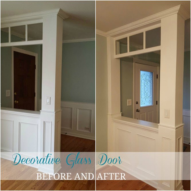 decorative glass door before and after the walls are painted palladian blue