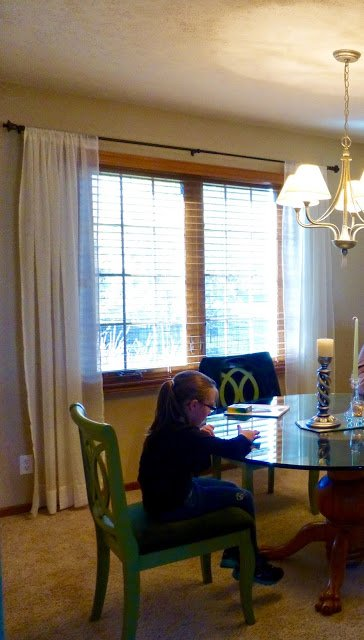 Dining room drapes before