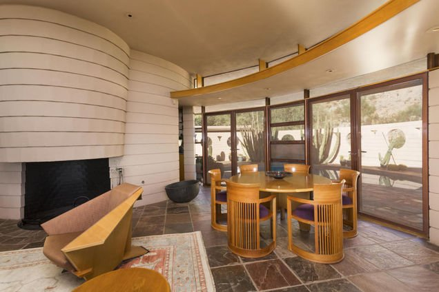Dining room in the last house Frank Lloyd Wright designed that is in Phoenix AZ