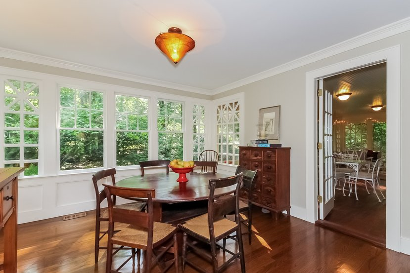 Dining room with custom windows