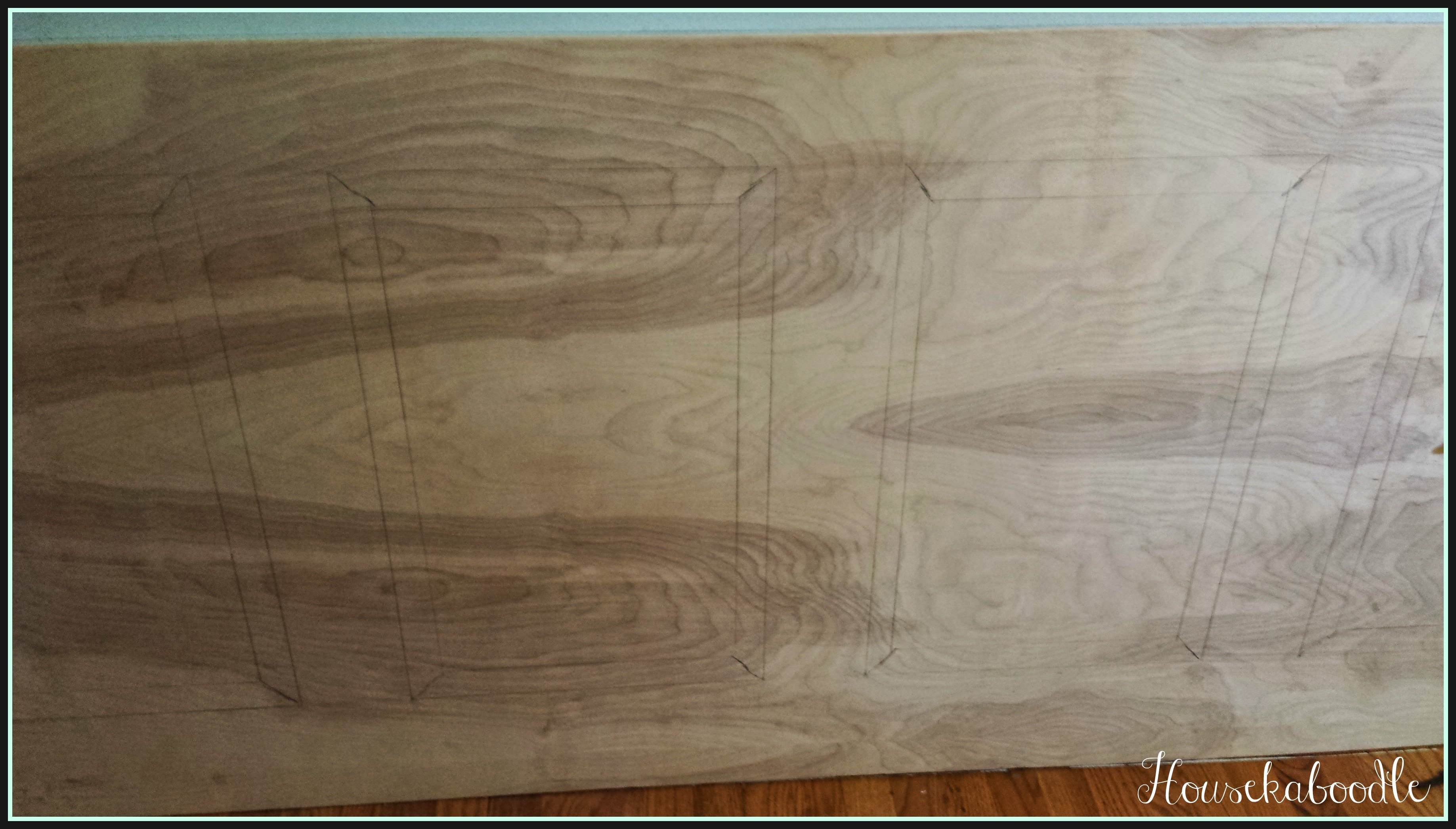 Drew pattern on birch plywood DIY waincot wall- Housekaboodle