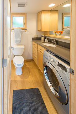 ESCAPE Vista extra-large bath incudes a washer and dryer! Now that is some RV isn't it
