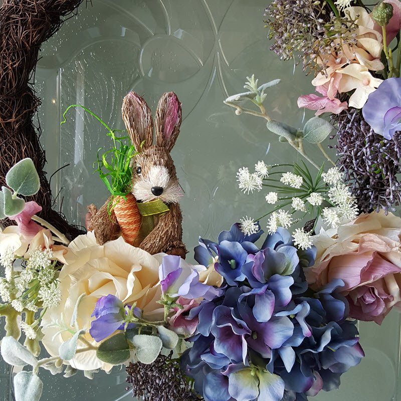 Adorable Easter Bunny in my Spring Wreath - Housekaboodle