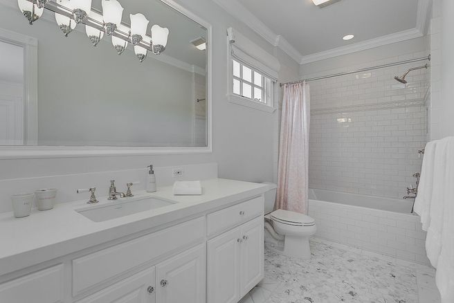 Elegant white bath inside Vince Vaughns beautiful Colonial Mansion in California for sale