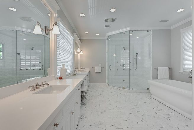 Elegant white bathroom inside Vince Vaughns Colonial Mansion in California for sale