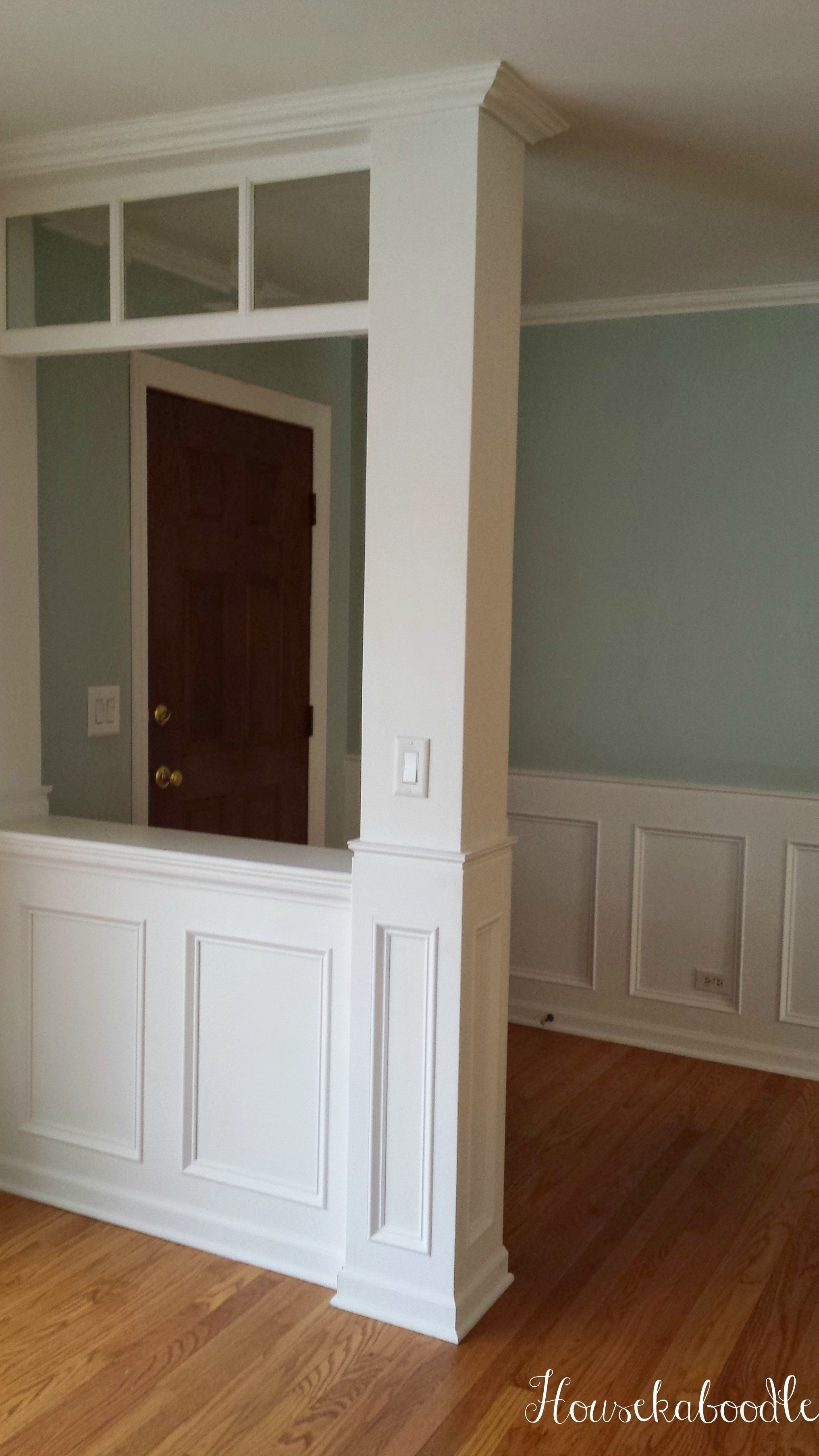 Entryway After wall color is Palladian Blue by Benjamin Moore- Housekaboodle wainscoting wall