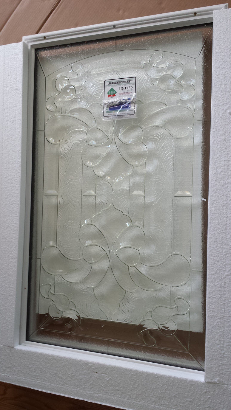 How to add a decorative glass window to a fiberglass door for Decorative glass for entry doors