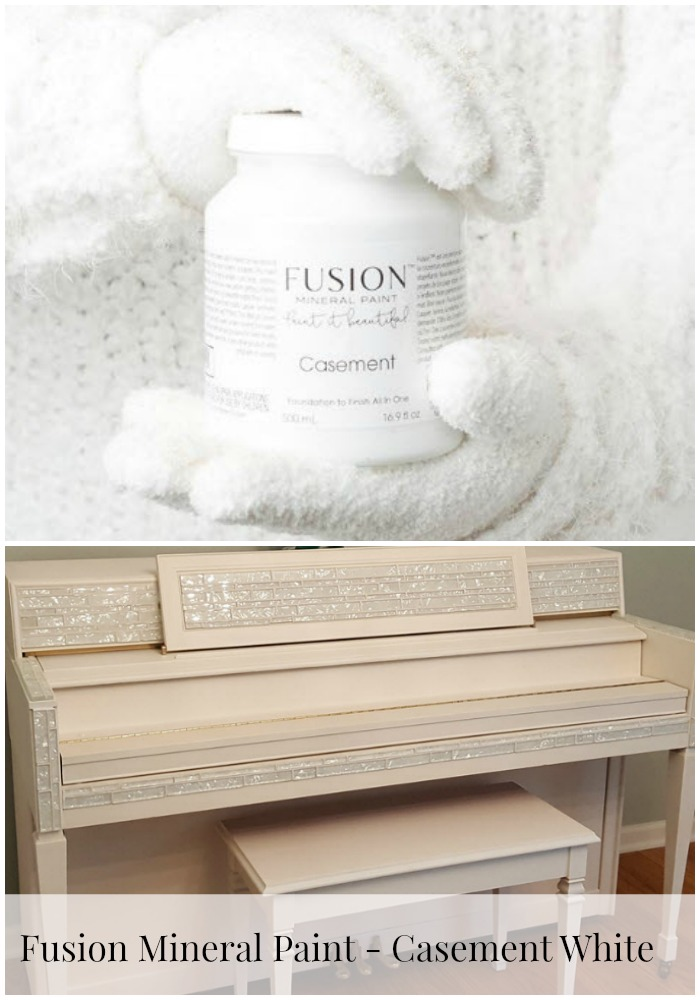 Fusion Mineral Paint Casement White looks fantastic on my newly painted piano with Liberace bling with Mosaic Tile - Housekaboodle