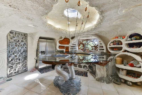 Famous Hillsborough CA Flintstone House for sale. This is the wild and wacky kitchen- curbed sf