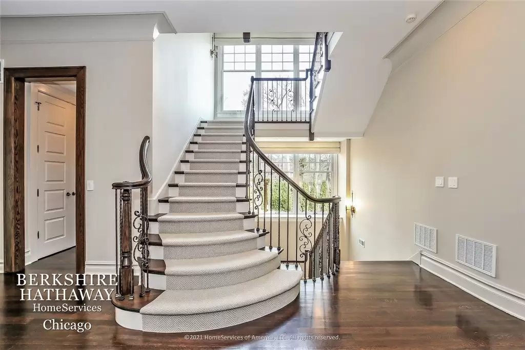 Beautiful Stairway in house for sale Highland Park IL.