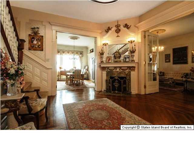 One of three fireplaces in Victorian home for sale 269 Howard Ave Staten Island NY
