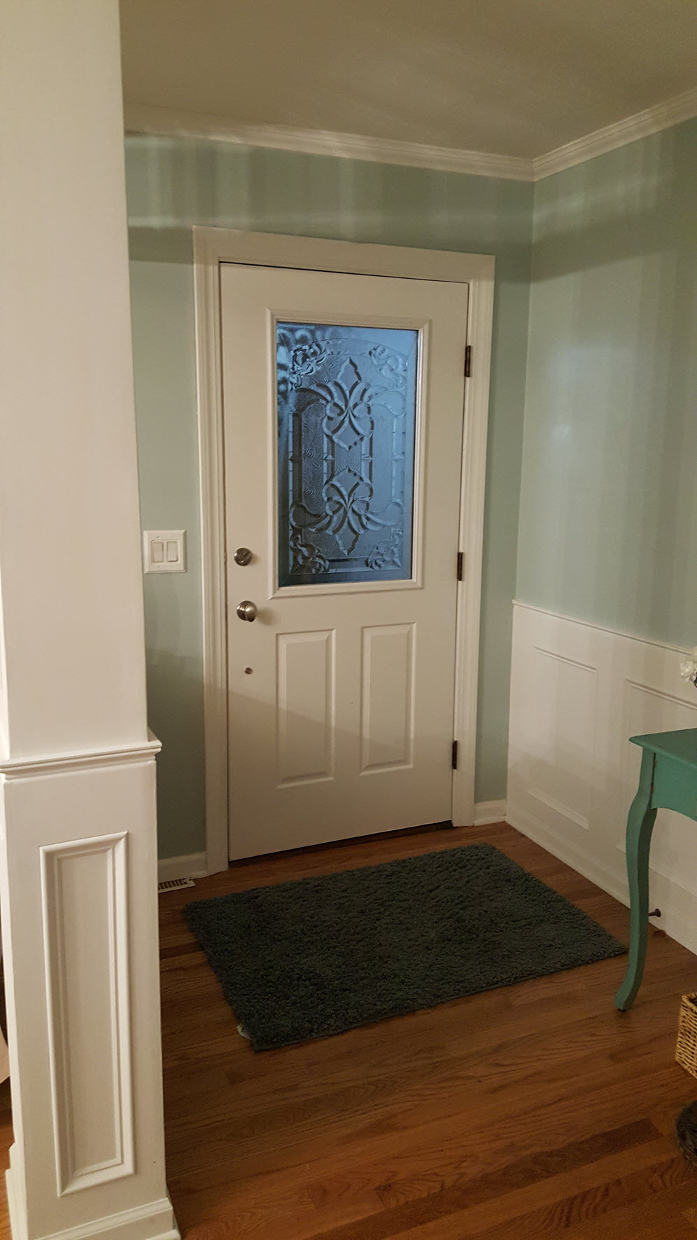 Front door after photo of our DIY decorative glass window - Housekaboodle