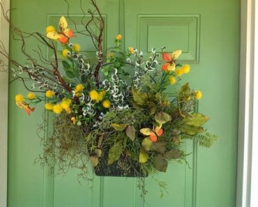 Front door wreath by Renaissance Mermaid featured on Happy Home Tour