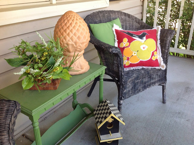 Front porch at home with Renaissance Mermaid on Happy Home Tour