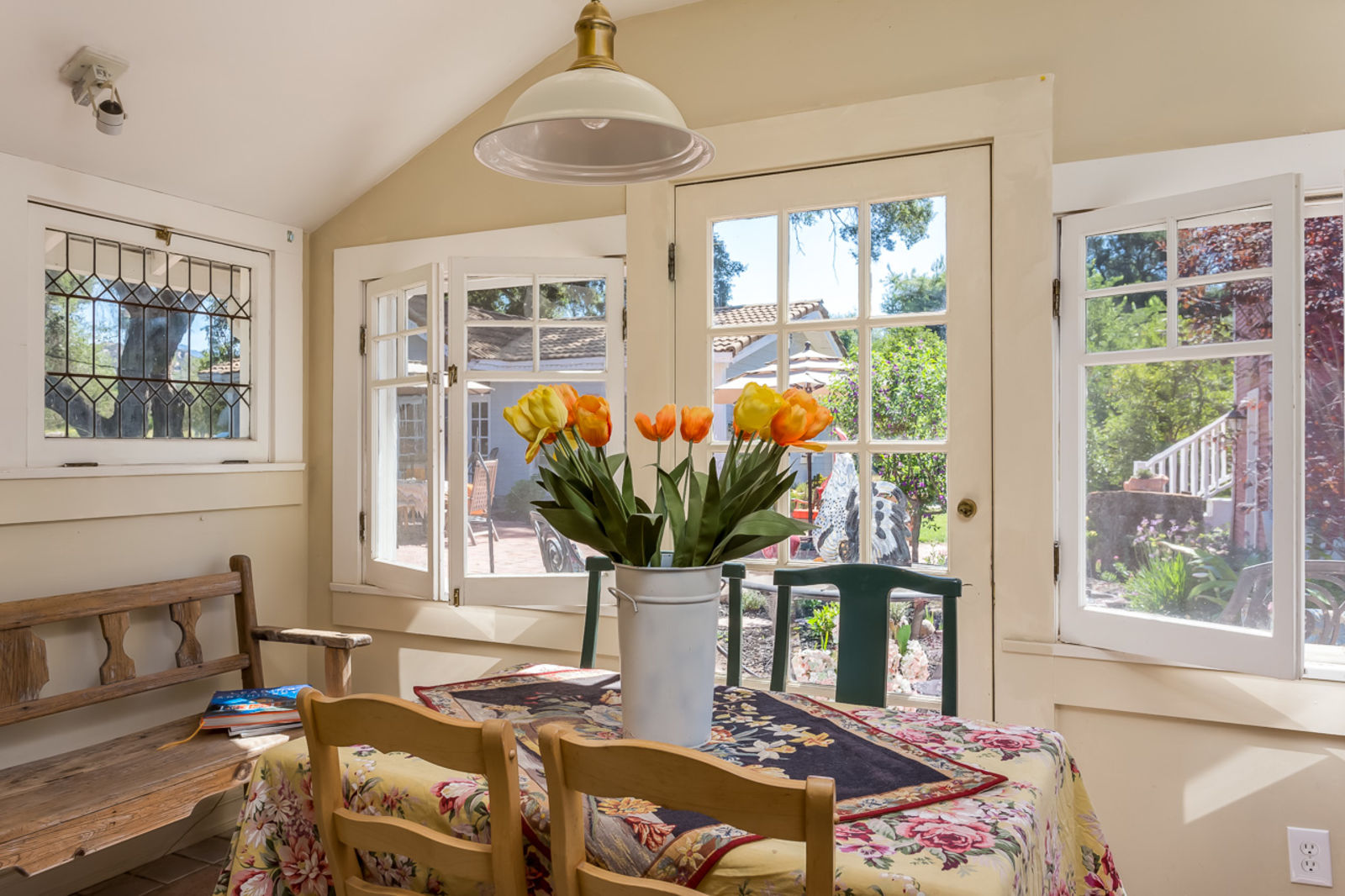 Charming Adobe Home - Breakfast Room with these wonderful vintage windows