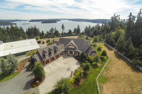 Gibralter Esquestrian Estate is exqusite. The custom home is on 16 acres wth panoramic 180 degree views of Saratoga Passage, Similk Bay and Skagit and Hope Islands.