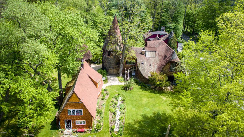 Gingerbread House Estate in MA for sale has four fairy tale homes - Ariel Property view