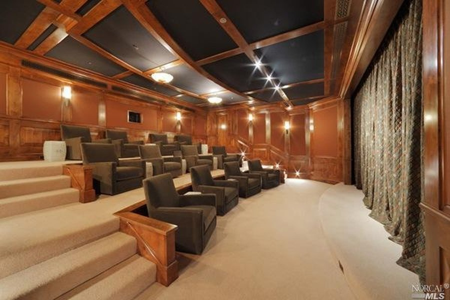 Great theatre seating and room inside Robin Williams Napa Valley Estate for sale