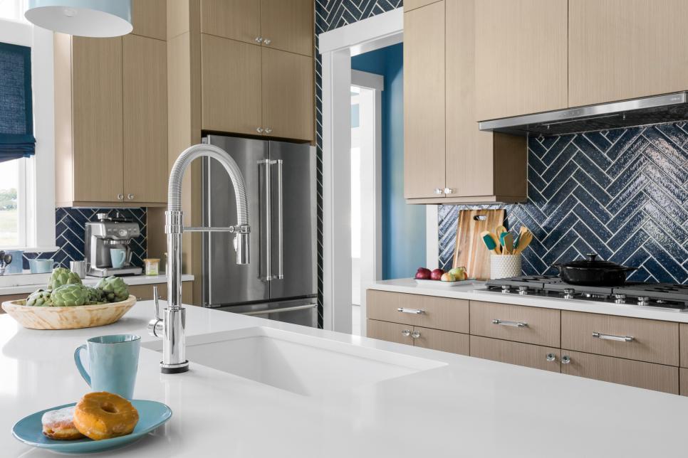 HGTV Dream Home kitchen sink and blue herringbone backsplash
