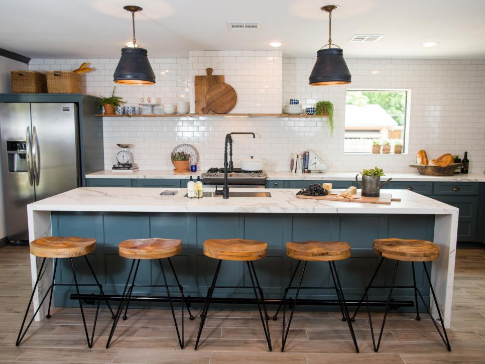 Hgtv Fixer Upper Brick House Is Old World Charm For Newlyweds on traditional oak kitchen islands