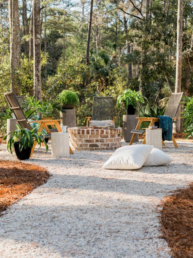 HGTV Smart Home 2018 - HGTV Smart House 2018 Backyard walways made of concrete and crushed oyser shells