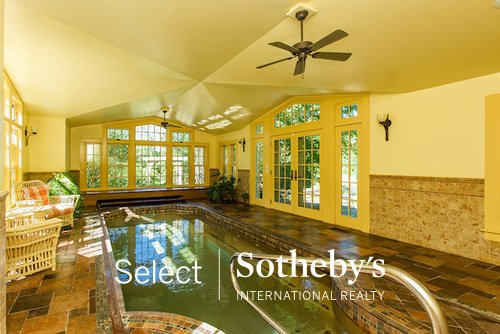 Heated indoor pool 122 Daley Rd Chatham NY listed with Sotheby's
