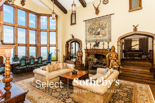 Highlands Castle in Bolton Landing NY a castle for sale and fairytale destination to rent - the Great Hall