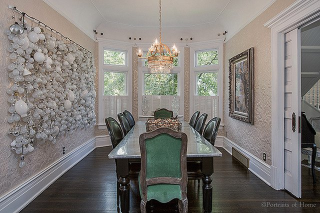 Historical Queen Anne home in Glen Ellyn IL for sale. Dining room with beautiful lightingjpg