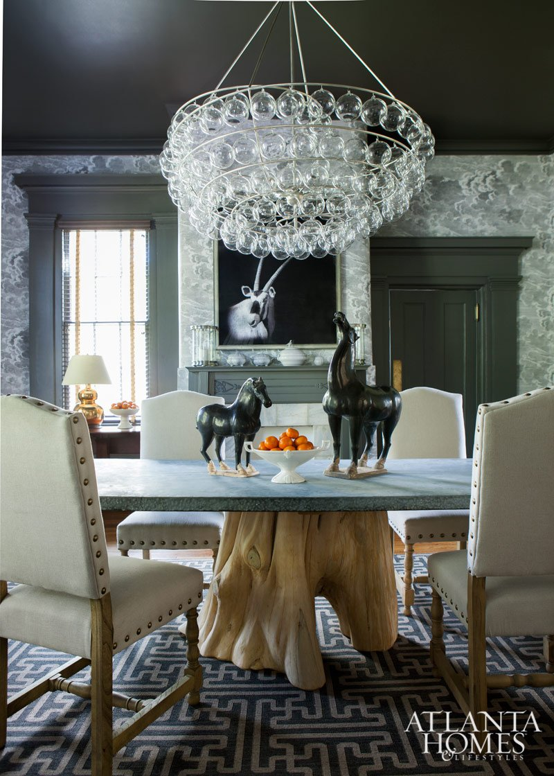 "Historic ""Honeymoon"" mansion Dining Room with Blown-glass Bubble chandelier design by Jimmy Stanton, Stanton Home Furnishings"