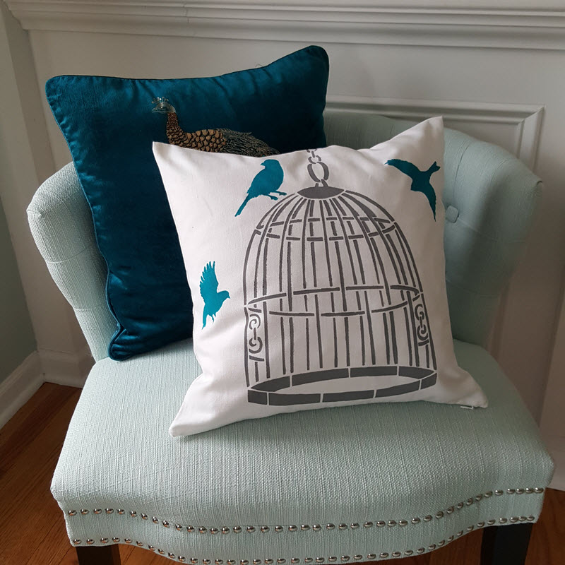 How To Stencil A Pillow To Perfectly Match Your Home Decor - Housekaboodle This design is Bird Cage DIY Accent Pillow