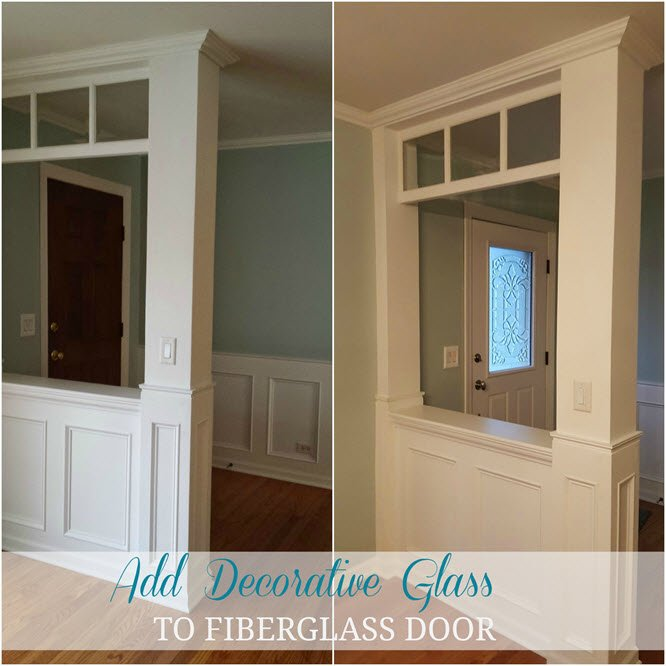 How to add a decorative glass window to a fiberglass door Before and After. The walls are painted Palladian Blue - Housekaboodle