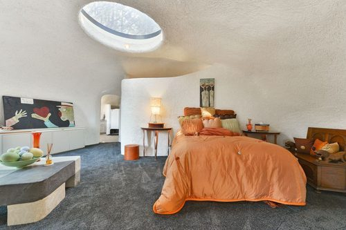 Iconic Flintstone House for sale in California - This is one of the three bedrooms - curbed sf