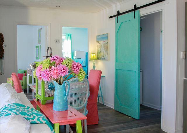 Inside Colorful Coastal Joy Cottage Sliding Barn door - Tybee Island Mermaid Cottages
