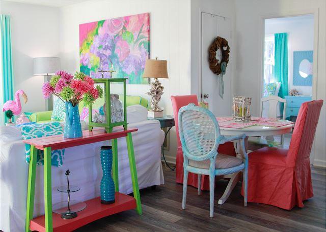 Inside Colorful Coastal Joy Cottage - Tybee Island Mermaid Cottages