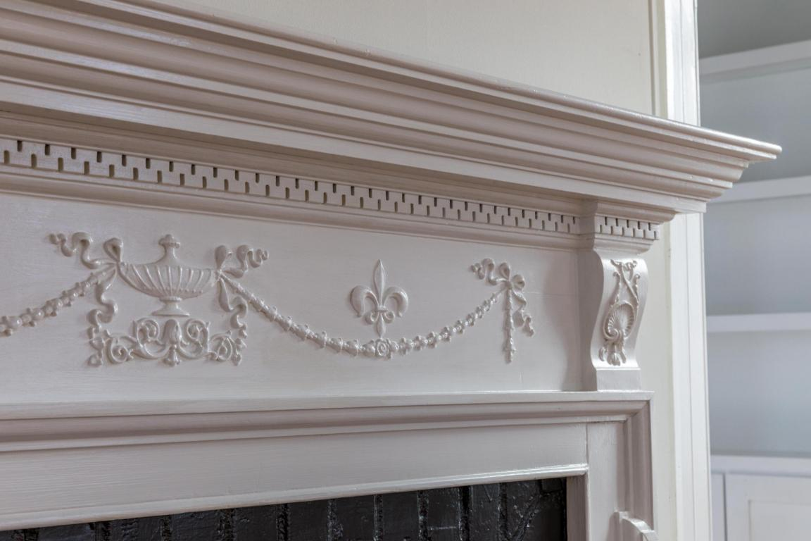 Inside the Pretty Pink Plantation House for sale 101 Murray Blvd Charleston SC - Southern Plantation Fireplace