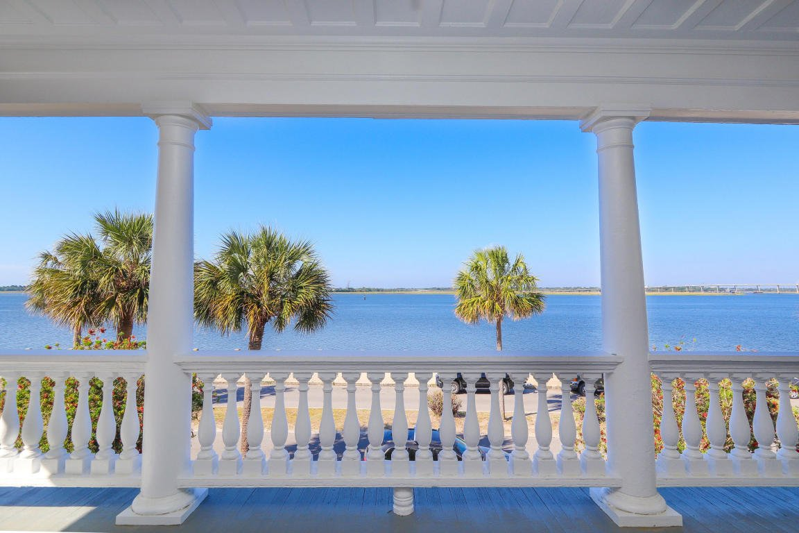 Inside the Pretty Pink Plantation House for sale 101 Murray Blvd Charleston SC - upper porch views