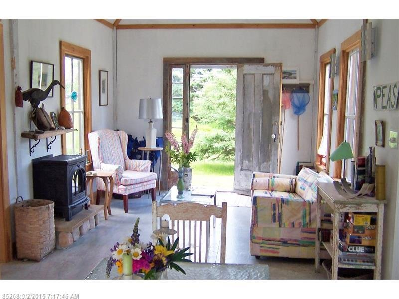 Inside tiny 790 square foot shingled cottage for sale in Maine