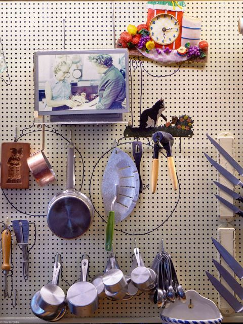 Julia Childs House for Rent kitchen pegboard wall